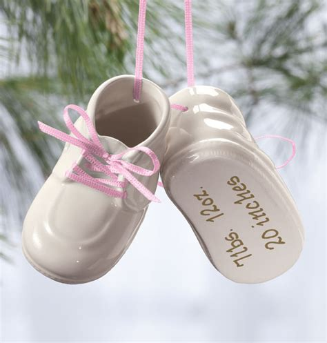 personalized baby bootie holiday ornaments christmas