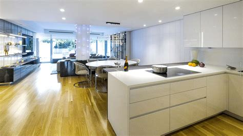 corian wood corner kitchen in corian and fine wood in the center of