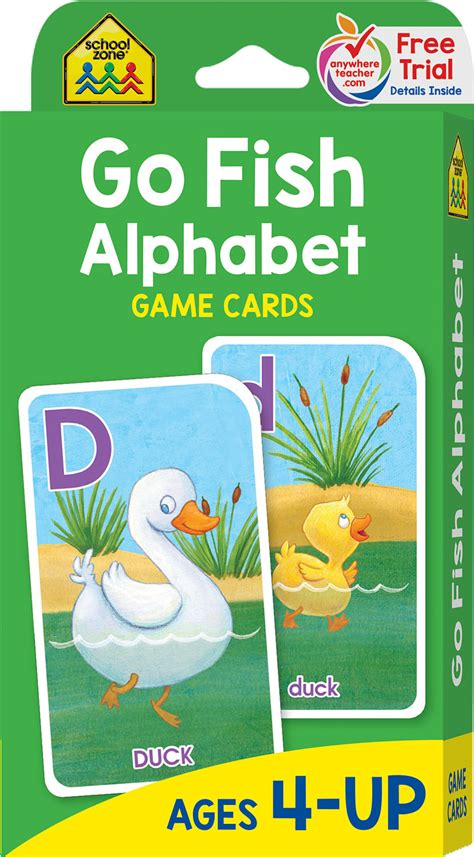 Mainan Edukasi School Zone Go Fish Alphabet Flash Cards 56 Cards preschool to grade go fish alphabet cards raff and friends