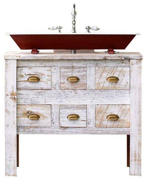 reclaimed wood bath vanity cabinet steel trough sink package white 36 quot farmhouse bathroom