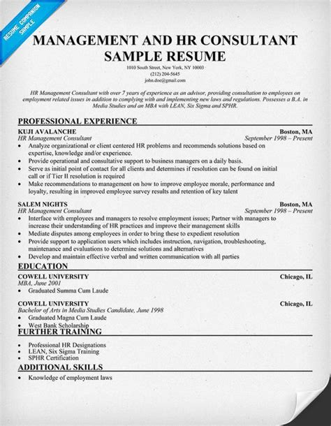 management and hr consultant resume resumecompanion resume sles across all