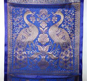 Handmade Tapestry Wall Hangings - handmade silk tapestry brocade work home decoration blue