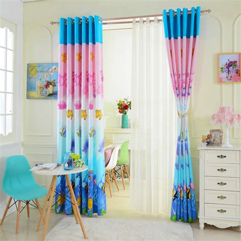blue and pink curtains cartoon pink and blue colored ocean window curtains