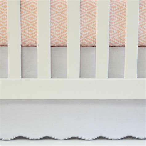white scallop crib skirt with dove grey trim by oliver b