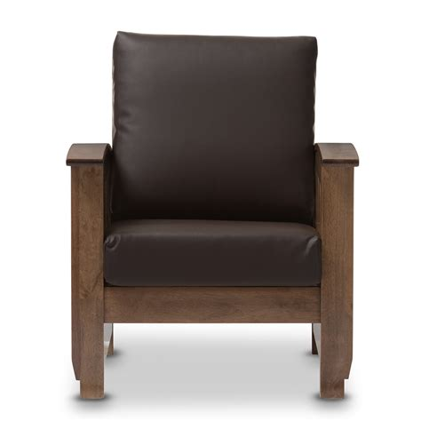 mission style adaptation of the leather club chair baxton studio modern classic mission style