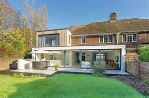 classic english home with brick fa 231 ade acquires a nifty modern extension