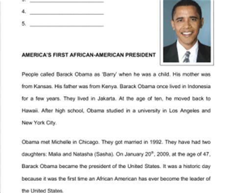 barack obama biography article barack obama reading comprehension for elementary