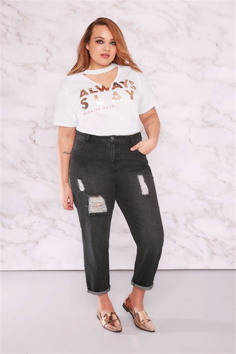The Limited Gift Card Refund - limited collection black distressed mom jeans plus size 16 to 32