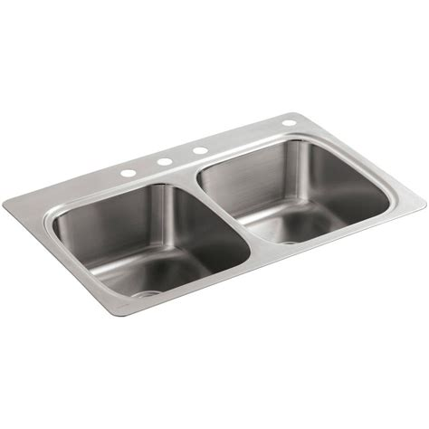 kohler drop in kitchen sinks kohler verse drop in stainless steel 33 in 4