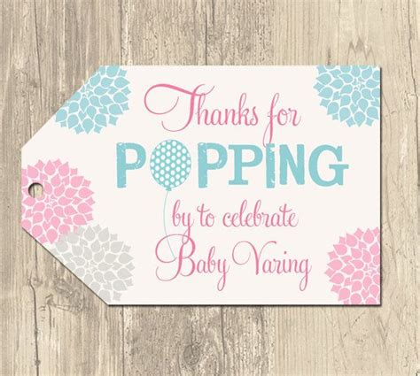 Baby Shower Label Template For Favors ready to pop baby shower tags baby shower favor tags
