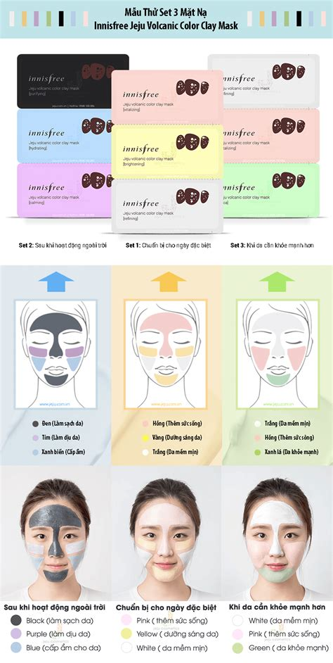 Innisfree Color Clay Mask 1 mẫu thử set 3 mặt nạ innisfree jeju volcanic color clay