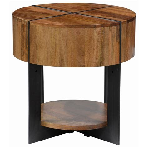 classic home desmond mango wood end table with iron