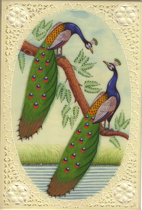 Paintings Handmade - india peacock handmade blue green feather watercolor