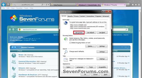 explorer home page add or change windows 7