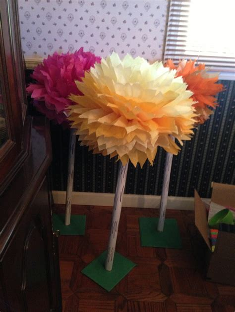 How To Make Truffula Trees Out Of Tissue Paper - truffula trees for lorax birthday tissue paper