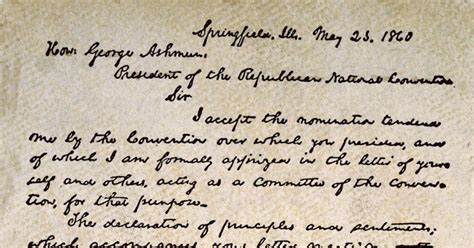 President Acceptance Letter lincoln s presidential acceptance letter photos