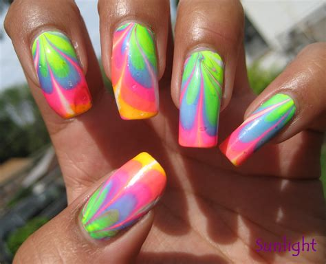 Water Nail by Nailcrazy Neon Water Marble Tutorial