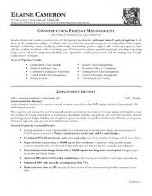 construction project manager resume sle sles of