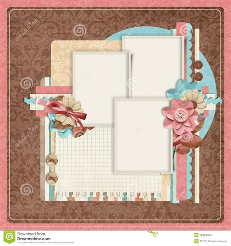 Retro Family Album 365 Project Scrapbooking Templates Stock Illustration Illustration 29654453 Digital Scrapbooking Templates