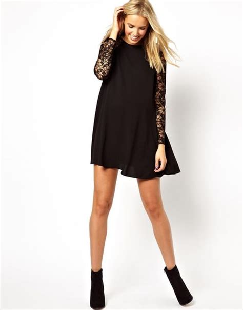 lace sleeve swing dress asos maternity swing dress with lace sleeve in black lyst