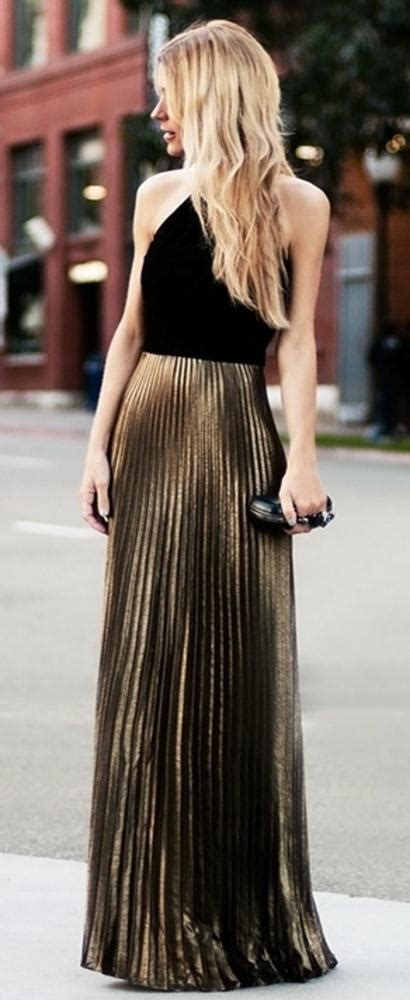 pleated maxi gold skirt fashion up trend