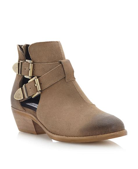 steve madden cinch cut out detail ankle boots in beige