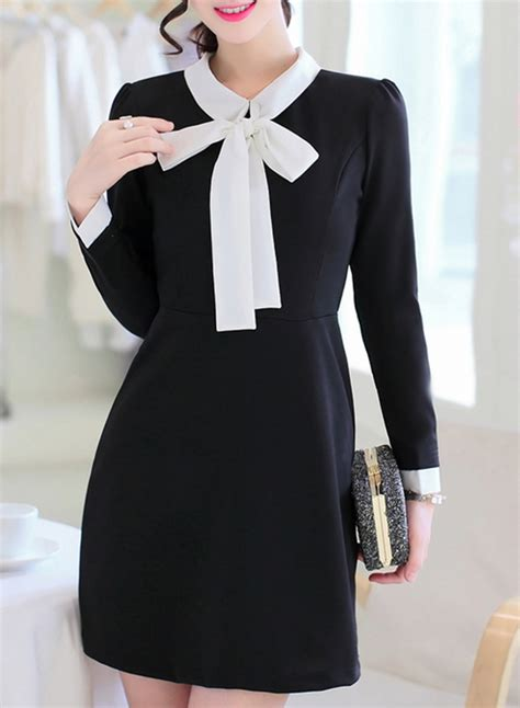 fashion collar s fashion bow tie collar sleeve dress roawe