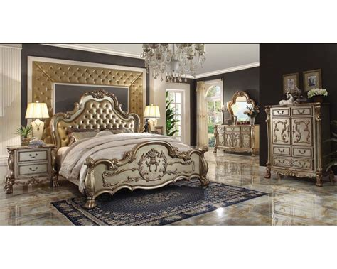 acme bedroom furniture bedroom set dresden gold by acme furniture ac2316set