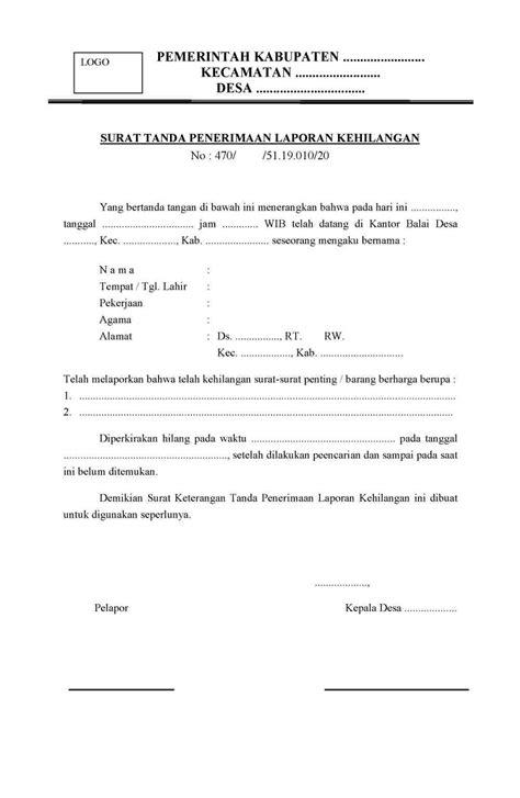 contoh surat resmi surat laporan kehilangan dari desa