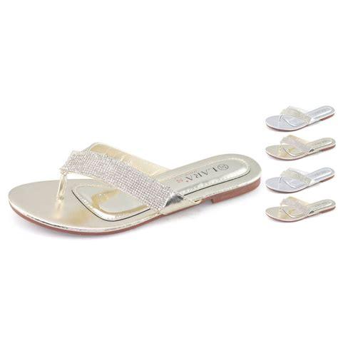 Flat Slippers For Wedding by Womens Silver Sandal Rhinestones Flip Flops Bridal Slipper