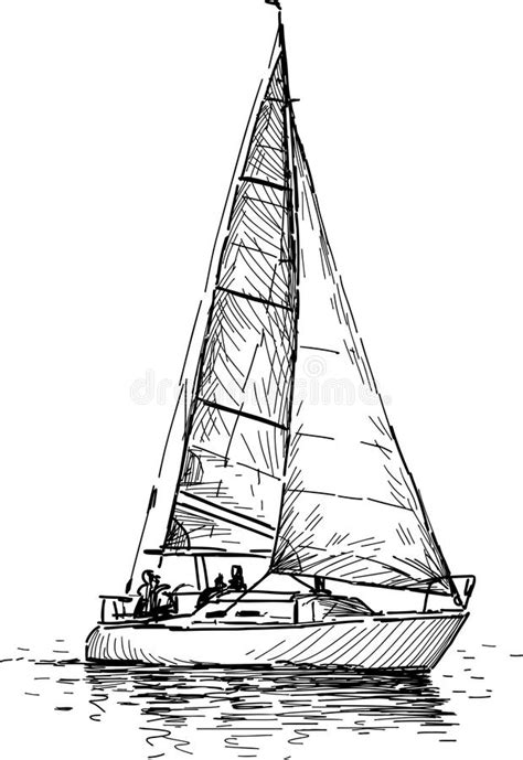 sailboat line drawing vector sailing yacht stock vector illustration of outline ship
