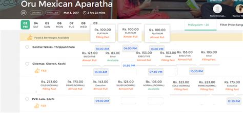 bookmyshow ernakulam advance bookings soar for oru mexican aparatha and