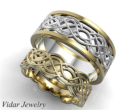 Wedding Rings Matching Sets by Unique Celtic Matching Wedding Ring Set Vidar Jewelry