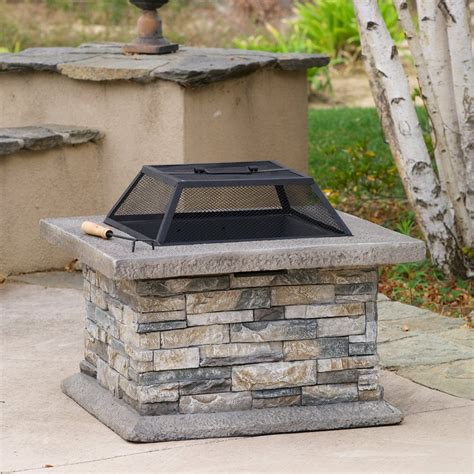 Shop Best Selling Home Decor 29 In W Natural Stone Cement Firepit Wood