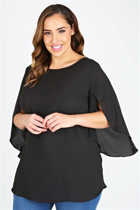 Mazaya Blouse Model 32 11 black chiffon blouse with split sleeves plus size 16
