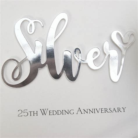 silver 25th wedding anniversary card by the hummingbird