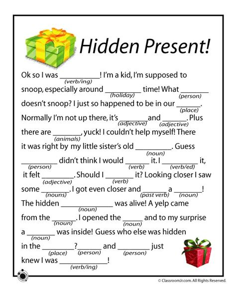 new year printable story mad libs mad libs present