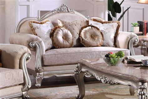 luxurious traditional living room furniture sofa set exposed wood platinum finish