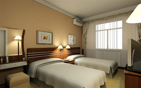 hotel room interior hotel standard double room interior design rendering 3d