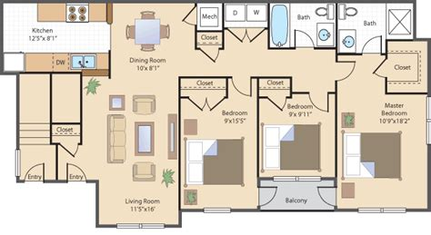 3 bedroom 3 bathroom apartments bedroom bath apartment floor plans and
