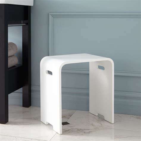 Modern Vanity Stool For Bathroom Epsilon Resin Bath Stool White Matte Finish Modern Vanity Stools And Benches