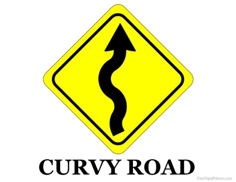 printable road closed signs printable curvy road sign