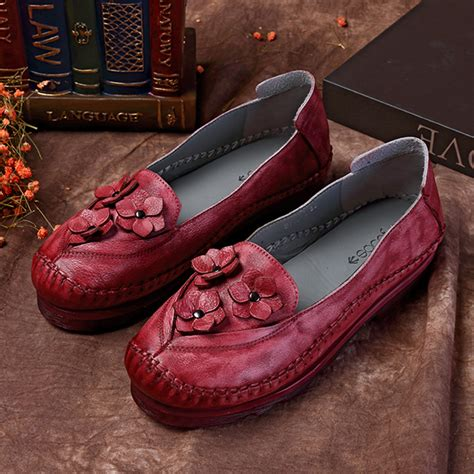 Genuine Leather Flower Flats socofy flower genuine leather slip on flats for