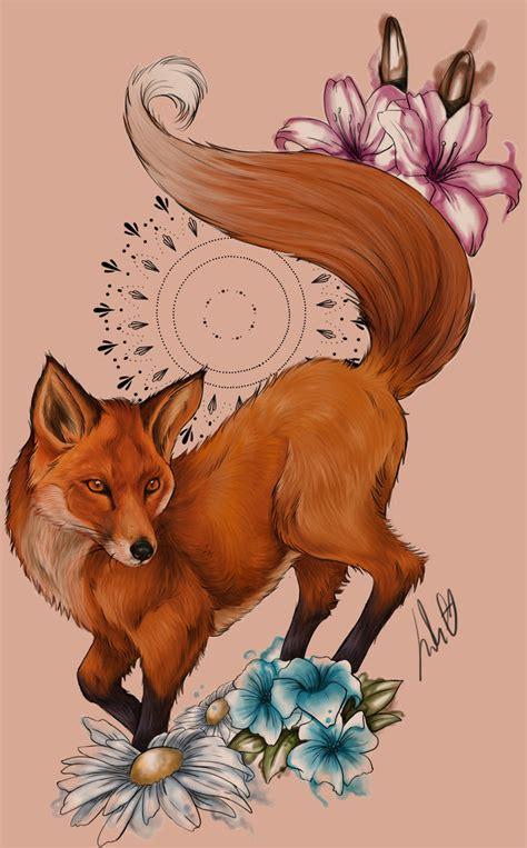 spring fox tattoo design by julietgarciaart on deviantart