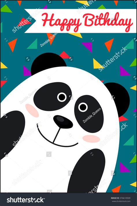 Panda Birthday Card Template by Happy Birthday Card Panda Card Template Stock Vector
