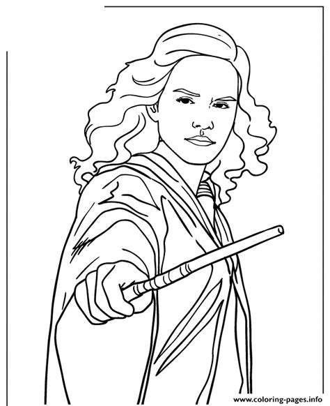 harry potter coloring pages hermione harry potter hermione granger holding wand coloring pages