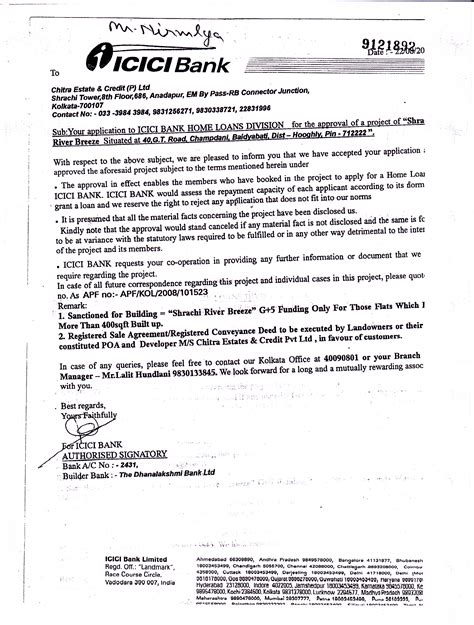 Home Loan Sanction Letter Icici Bank Home Loan River