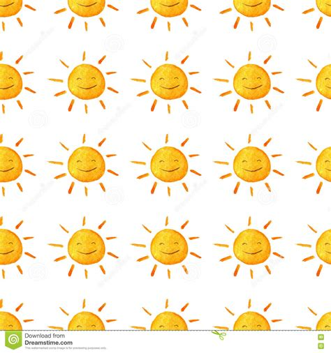 cute handpainted pattern weather watercolor pattern cute smiling sun hand painted