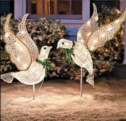 set 2 christmas lighted glitter doves outdoor yard angel