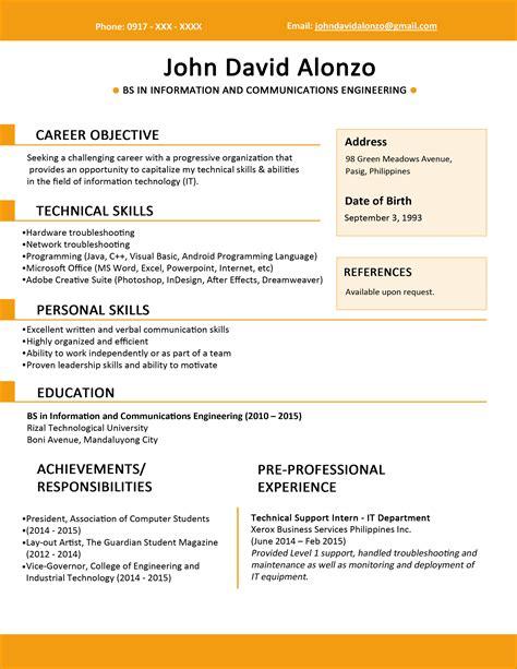 cv templates for marketing graduates sle resume format for fresh graduates single page 4 png